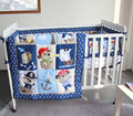 Bebê meninos bedding set colcha saia da cama colchão capa jacquard animal dos desenhos animados conjuntos de adesivos para berço bumpers berço cama infantil roupa de cama