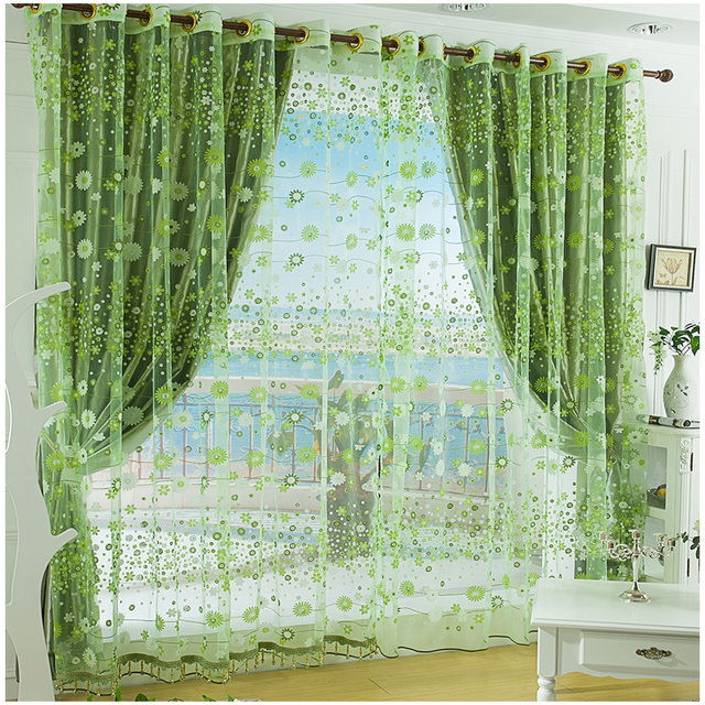 Free Ship Blinds Print Window Tulles Green Curtains For Windows Living Room  Tulle Curtain Home Decoration