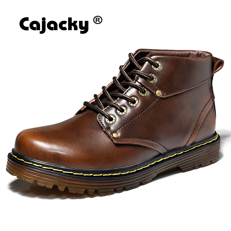 Cajacky men ankle boots classic brown martin boots black winter autumn handmade boots male high top casual shoes zapatos hombre