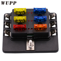 1 In 6 Out Auto Fuse Box Waterproof Blade Fuse Block Box With Led Indicator For