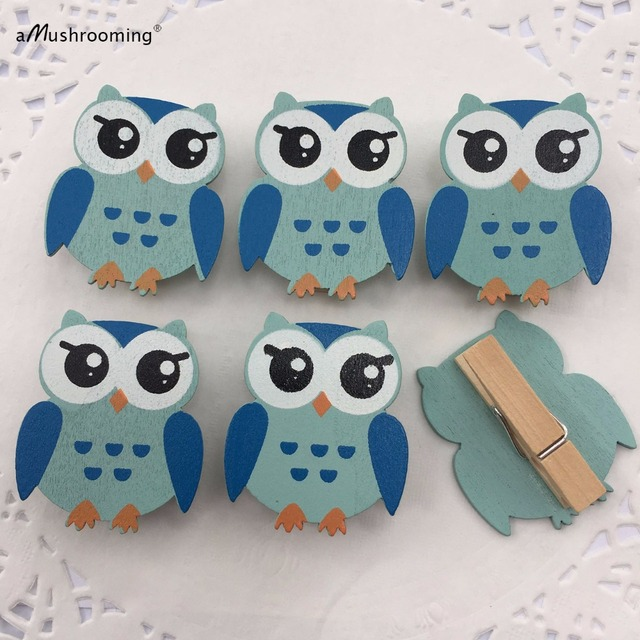 mini owl clothes pins baby shower game boy party favors blue set of