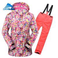 Kids Winter Outdoor Sport Snowboard Ski Suits Children Waterproof Windstopper Snowboarding Skiing Jacket Pants Girls Snow Set