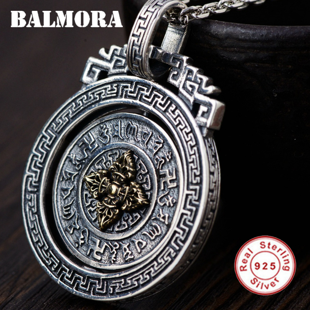 BALMORA 925 Sterling Silver Buddhism Six Words Sutra Vajra Rotatable Pendants for Women Men Jewelry Without