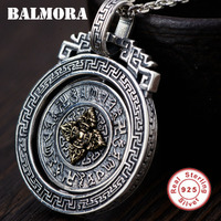 BALMORA 925 Sterling Silver Buddhism Six Words' Sutra Vajra Rotatable Pendants for Women Men Jewelry Without a Chain SY14330
