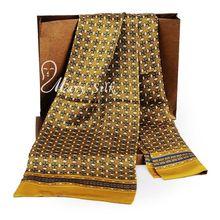 Модный брендовый мужской шарф из шелка, длинный шелковый шарф, двойной слой