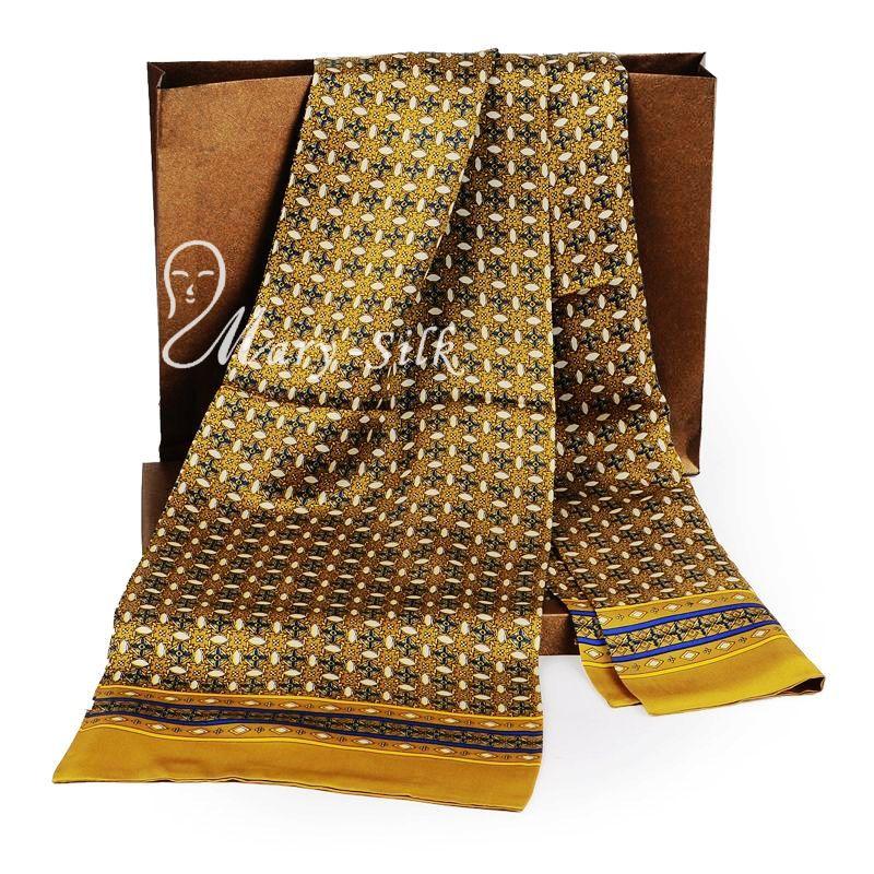 moda de nueva marca para hombre de la bufanda de seda larga bufanda de