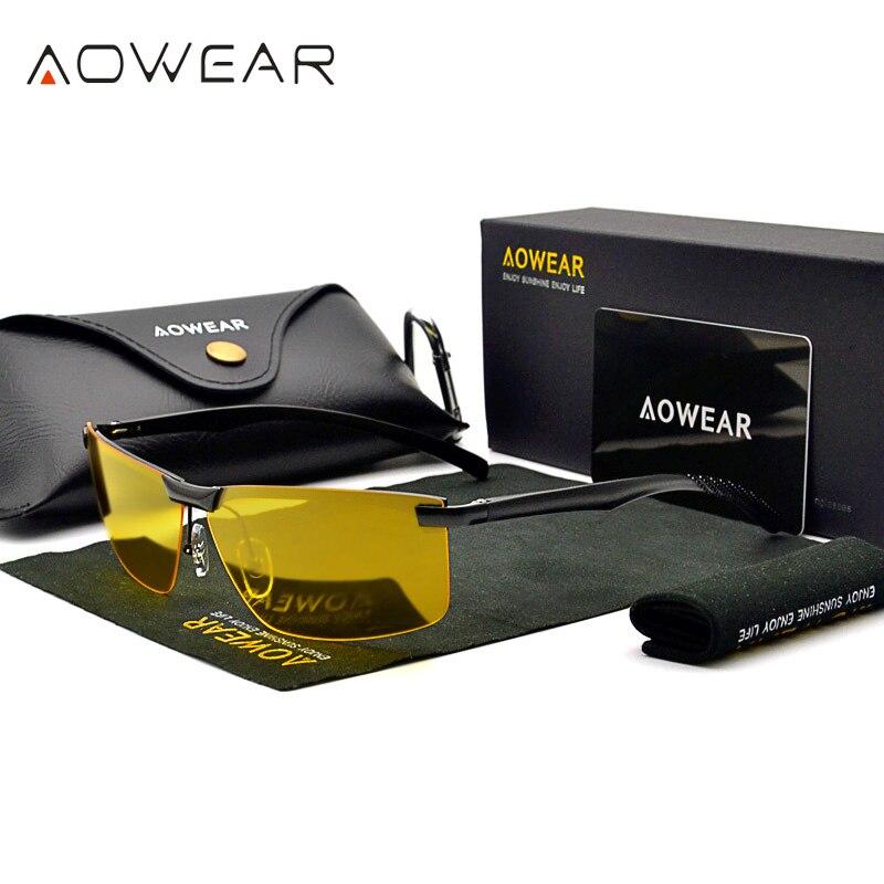 Óculos de visão noturna dos homens óculos de visão hd visão noturna óculos de condução polarizados óculos de sol amarelo para motorista oculos gafas de sol