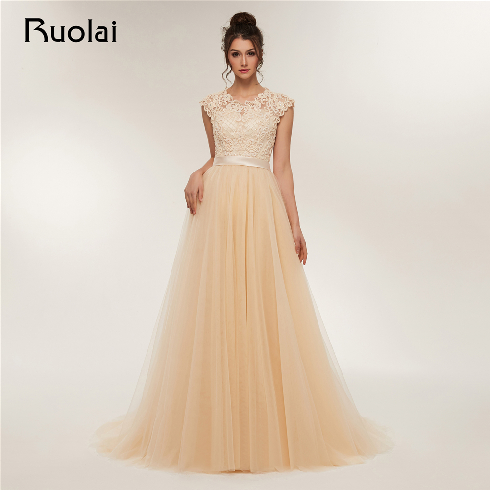 Luxury   Evening     Dresses   Long 2019 Lace Applique Beaded Cap Sleeves A-Line Prom   Dresses   Party Gown Vestido de Fiesta RE6