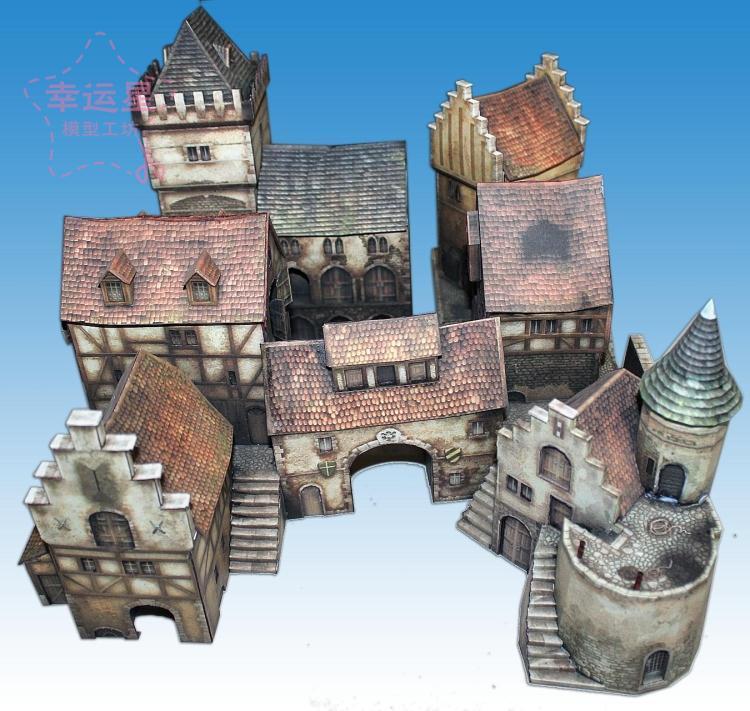 Bricolage travail manuel de papier 3D modèle d'architecture médiévale 1/87 Anno1404 Port