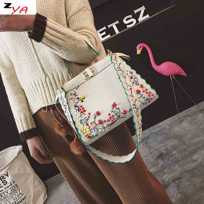 2017 Women Peekaboo Bag Embroidery Famous Brand Designer Tote Big Handbag Shoulder Bags Printing Rivet Waves Luxury Bags Purse 2016 women split leather handbags the waves peekaboo bags famous brands designer fashion ruffles handbag tote shoulder bag