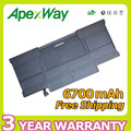 Apexway New 6700mAh 3.7V Generic laptop battery for APPLE A1405 A1369  (2011 production) for MacBook Air 13""