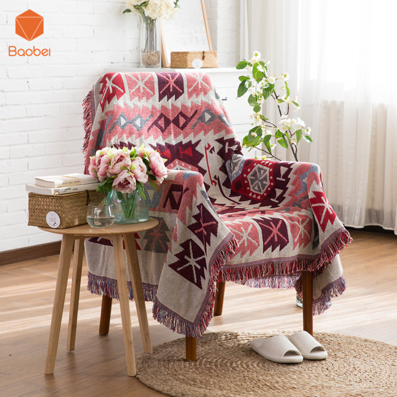 100% Cotton Double - sided blanket sofa decorative slipcover Throws on Sofa/Bed/Plane Plaids Rectangular stitching Blanket SF26