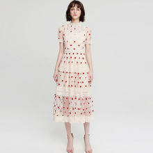 High quality elegant mesh dress 2019 summer runways embroidered floral dress Chic women's lace dress A461 floral embroidered lace panel slip dress