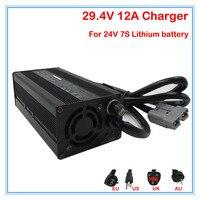 360W 24V 12A Charger Output 29.4V 12A li ion battery charger 24V Battery charger For 7S 24V lithium battery free shipping