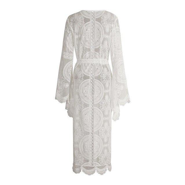 TWOTWINSTYLE Embroidery Lace Women's Shirt Flare Sleeve Maxi Blouse Female 2019 Summer Fashion Holiday Style Clothing Plus Sizes 5
