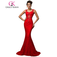 Grace Karin Mermaid Prom Dress Lace Bandage  Formal Evening Gown Long Beading Sequins Spaghetti Strap Red Prom Dresses 2017