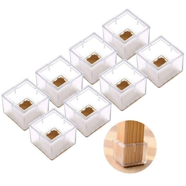 8pcs Square Silicone Leg Caps Sets Covers Socks Floor Protectors Furniture Chair Table Feet Pads Non