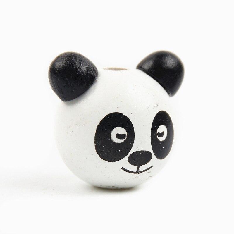 Wooden Beads 3D Cartoon Panda Bear 20Pcs Ball Smiling Face Wood Beads DIY Pacifier Clip & Jewelry For Children Kids Craft