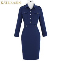 Kate Kasin Retro Women Autumn Hips Wrapped Robe 50s 60s Vintage Long Sleeve Navy Bodycon Vestidos
