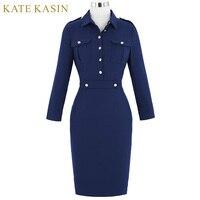 Kate Kasin Retro Women Autumn Hips Wrapped Robe 50s 60s Vintage Long Sleeve Navy Bodycon Vestidos