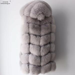 Image 3 - Linhaoshengyue 2017 70ซม.จริงฟ็อกซ์ขนสัตว์เสื้อกั๊กฤดูหนาวWarmเสื้อกั๊กแฟชั่นFreeshipping