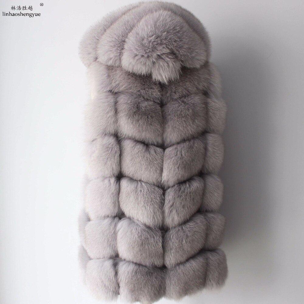 Image 3 - Linhaoshengyue 2017 70cm real casaco de pele de raposa colete feminino inverno quente moda colete frete grátis    -
