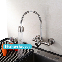 Stainless Steel Kitchen Basin Faucet Wall Mounted Sink Faucet Tap Cold and Hot Mixer Tap 360 Degree Rotation Single Handle Tap