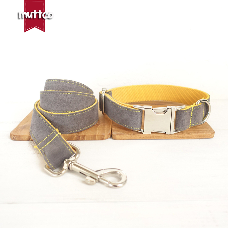 10pcs/lot MUTTCO wholesale self-design creative collar GRAY COVER YELLOW handmade nylon grey and yellow collars and leashes set