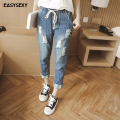 iEASYSEXY 2017 New Slim Striped Jeans Women Elastic Waist Autumn Pencil Pants Women Ripped Hole Ankle Length Jeans For Plus Size