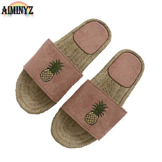 Basic Summer Slippers Beach Leater Shoes Leather Woman -7485