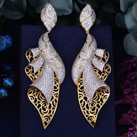GODK 98mm Luxury Exclusive Dance Belt AAA Cubic Zirconia African Wedding Women Dress Earring Fashion Jewelry