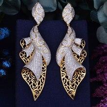 GODK boucle doreille de luxe pour femmes, bijoux de mariage en zircone cubique, bijoux de luxe, 98mm