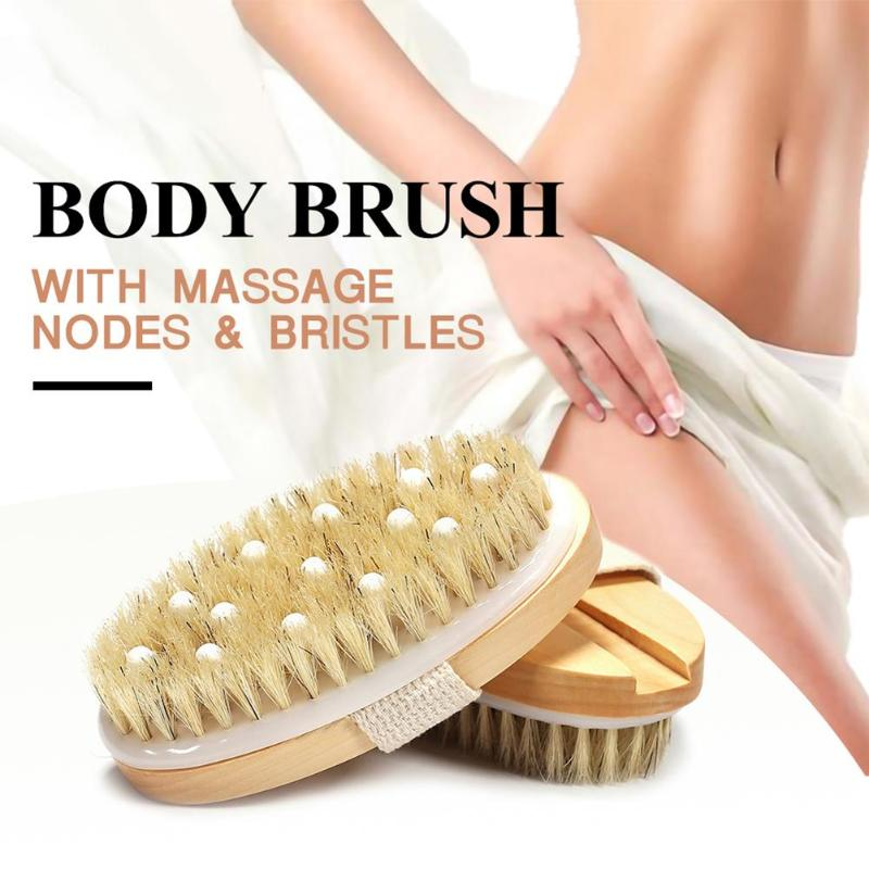 2 in 1 Wet And Dry Exfoliating Brush Wooden Natural Bristle Body Massager Bath Shower SPA For Blood Circulation Lymphatics Comb