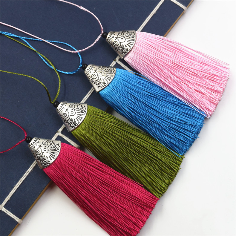 SEA MEW 5 PCS 80mm*20mm Handmade Polyester Tassel Pendant For Jewelry Making