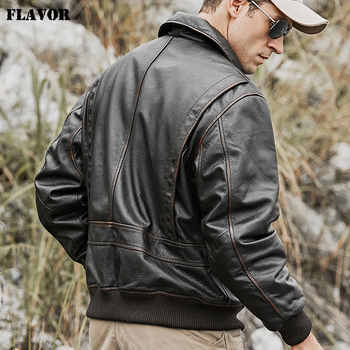 FLAVOR Men\'s Real Cow Leather Bomber Jacket Men Cowhide Genuine Leather Jacket Air Force Winter Warm Aviator Coat