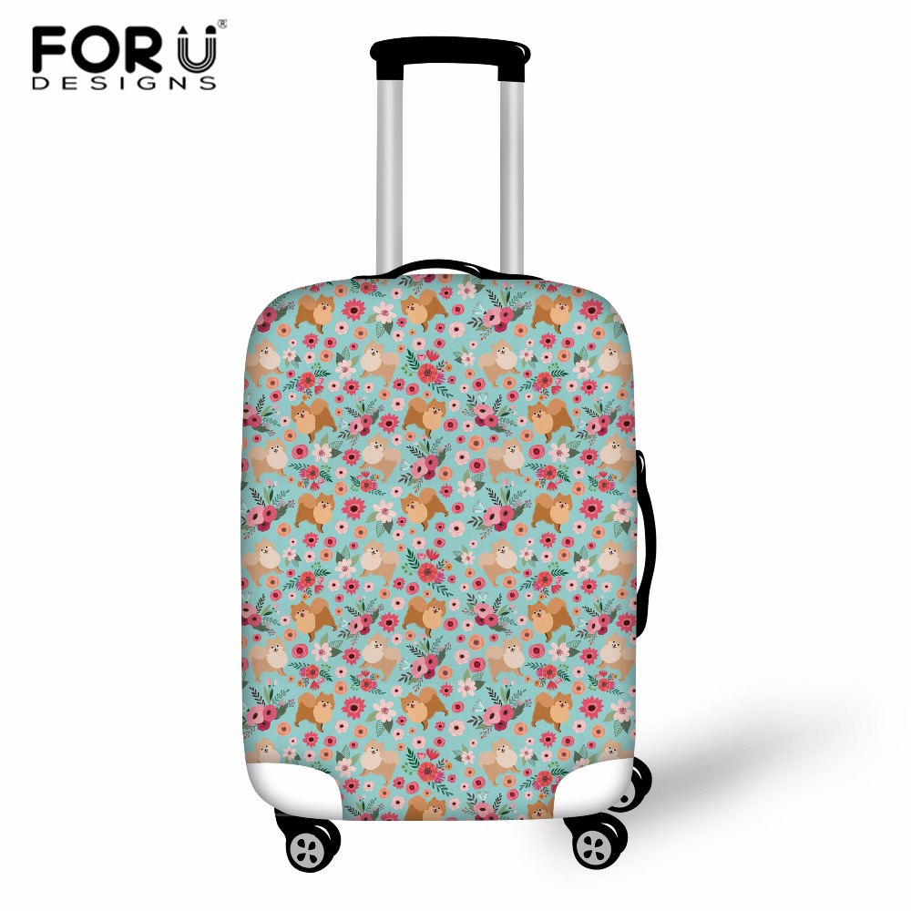 FORUDESIGNS Pomeranian Flower Travel Luggage Cover Protective Suitcase Covers Elastic 18-30 Inch Anti-dust Trolley Case Cover