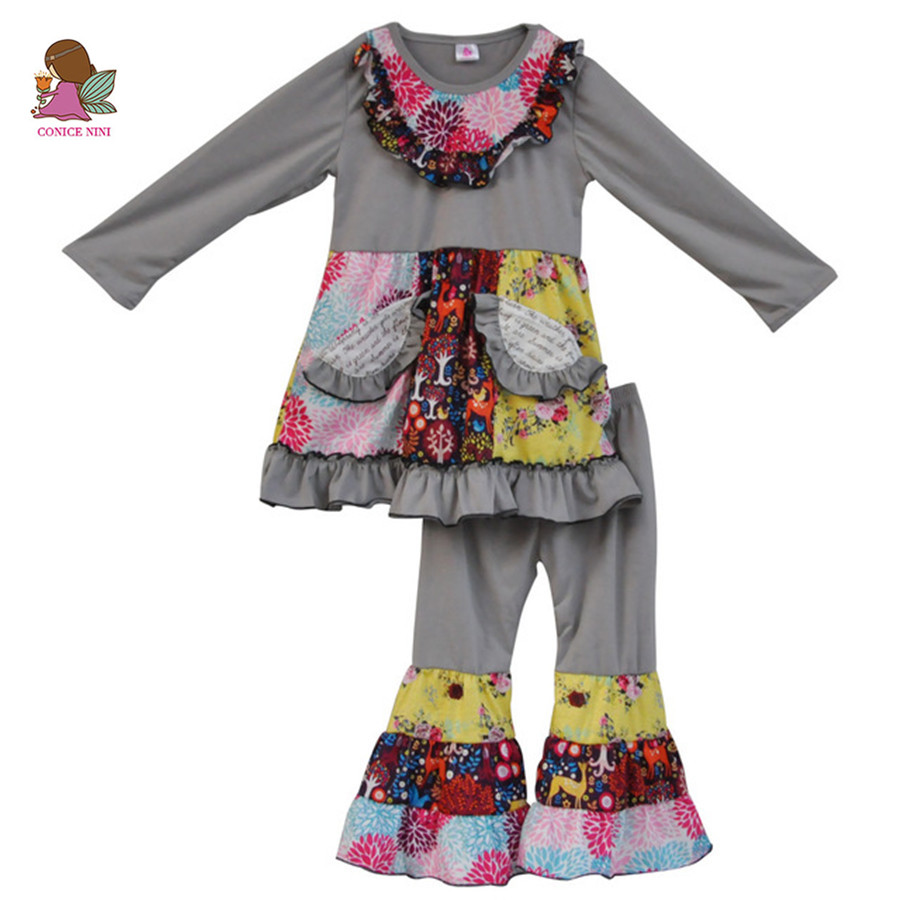 Free shipping new fashion fall girls outfits floral pocket dress ruffle pants winter cotton Mla winter style fashion set