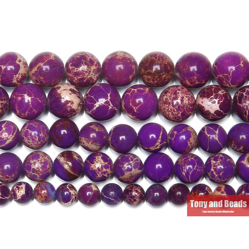 "Free Shipping 15"" Natural Stone Purple Sea Sediment Turquoises Imperial Jaspers Round Loose Beads 6 8 10MM Pick Size"