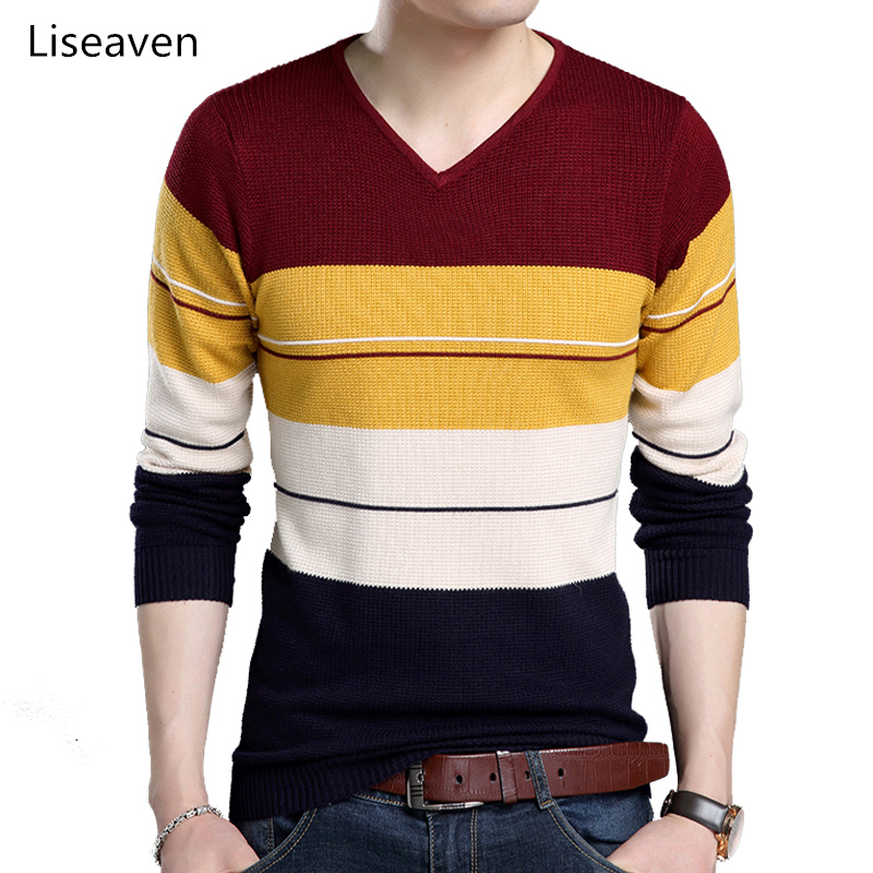 Liseaven Pullovers Men Knitwear V-Neck Pull Homme Men's Sweaters Male Patchwork Sweater
