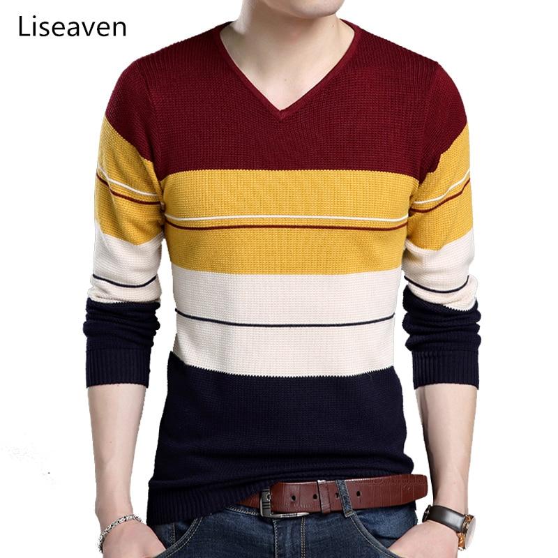 Liseaven Pullovers Men Knitwear V-Neck Pull Homme Men's Sweaters Male Patchwork Sweater