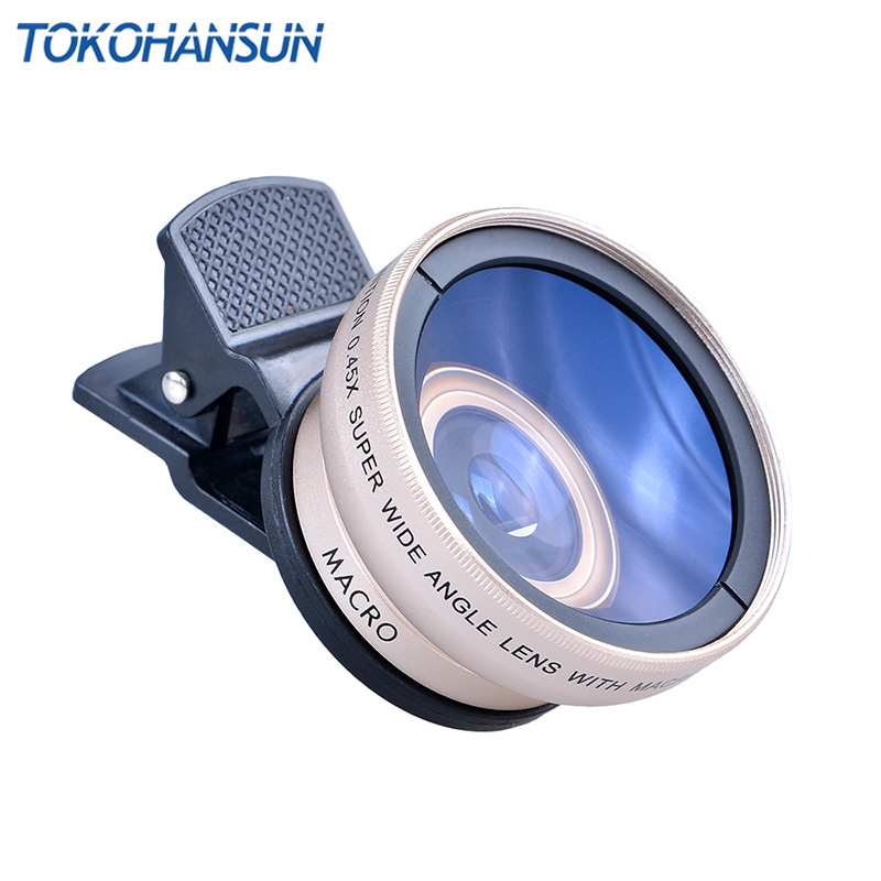 TOKOHANSUN New HD 37MM 0.45x Super Wide Angle Lens with 12.5x Super Macro Lens for iPhone LG HTC Samsung Sony Camera lens Kit