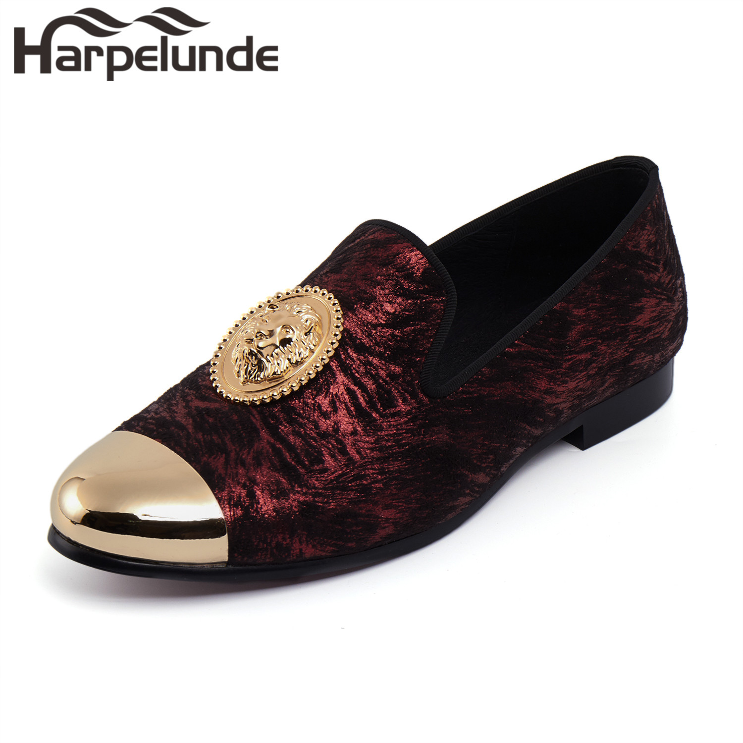 Harpelunde Animal Buckle Men Dress Loafers Printed Velvet Flat Shoes With Copper Cap Toe Size 6 To 14