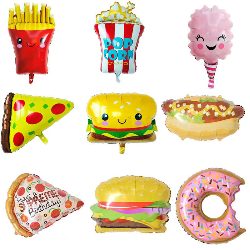 1pcs big & mini Hamburg ice cream Popcorn cake donut Pizza food balloon birthday party decoration cake shop inflatable balloons