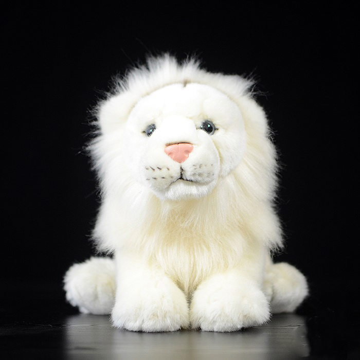 18 cm Lifelike White Lion Plush Toys Simulation Lion Plush Dolls Stuffed Wild Animal Toys Christmas Gifts For Kids stuffed animal 44 cm plush standing cow toy simulation dairy cattle doll great gift w501