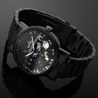 2016 Men S Watch Mechanical Watch Black Steel Brand Hollow Skeleton Dial Wristwatches