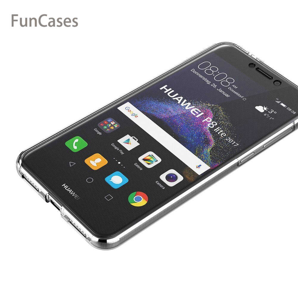 Untuk Huawei P8 Lite 2017 Case Honor 8 Lite Case 360 Derajat Penuh Cover Lembut Clear Case Cover Silicone Transparan untuk P9 Lite 2017