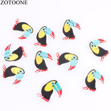 ZOTOONE 10PCS Animal Iron On Patches For Clothing Applique Parrot  Badges Pvc Stickes Clothes Hat Embroidery Set G