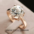 Super 5 Carat Engagement Woman Ring Rose Gold Plated Top Quality 6 Prongs Ladies Wedding Ring Wholesale 18krgp