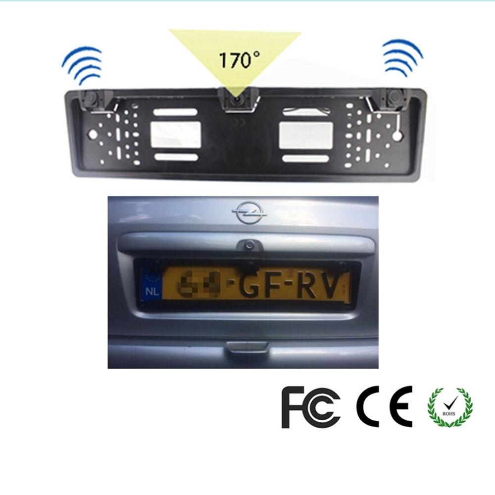Accessoires de stationnement de voiture 2 détecteurs de Radar + 1 caméra de recul cadre de plaque d'immatriculation européenne couvercle de support de plaque d'immatriculation Automobile
