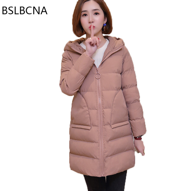2018 Hooded Down Cotton Clothes Plus Size Tops Cotton Padded Long Jacket Korean Style Winter Coat Parka Womens Clothing A222
